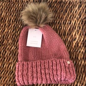 Lauren Conrad Withering rose faux fur pom-pom hat